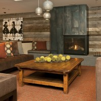 Lower lobby fireplace at Teton Mountain Lodge and Spa