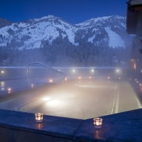Rooftop hot tub at Teton Mountain Lodge and Spa