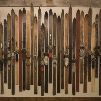 Vintage ski display at Teton Mountain Lodge and Spa