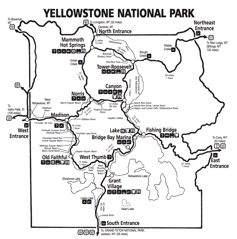 This is a photo of Fan Printable Map of Yellowstone