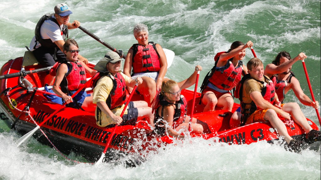 large group white water rafting