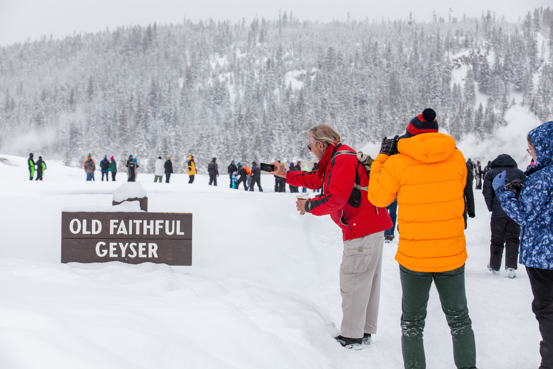 winter visit to Old Faithful in Yellowstone